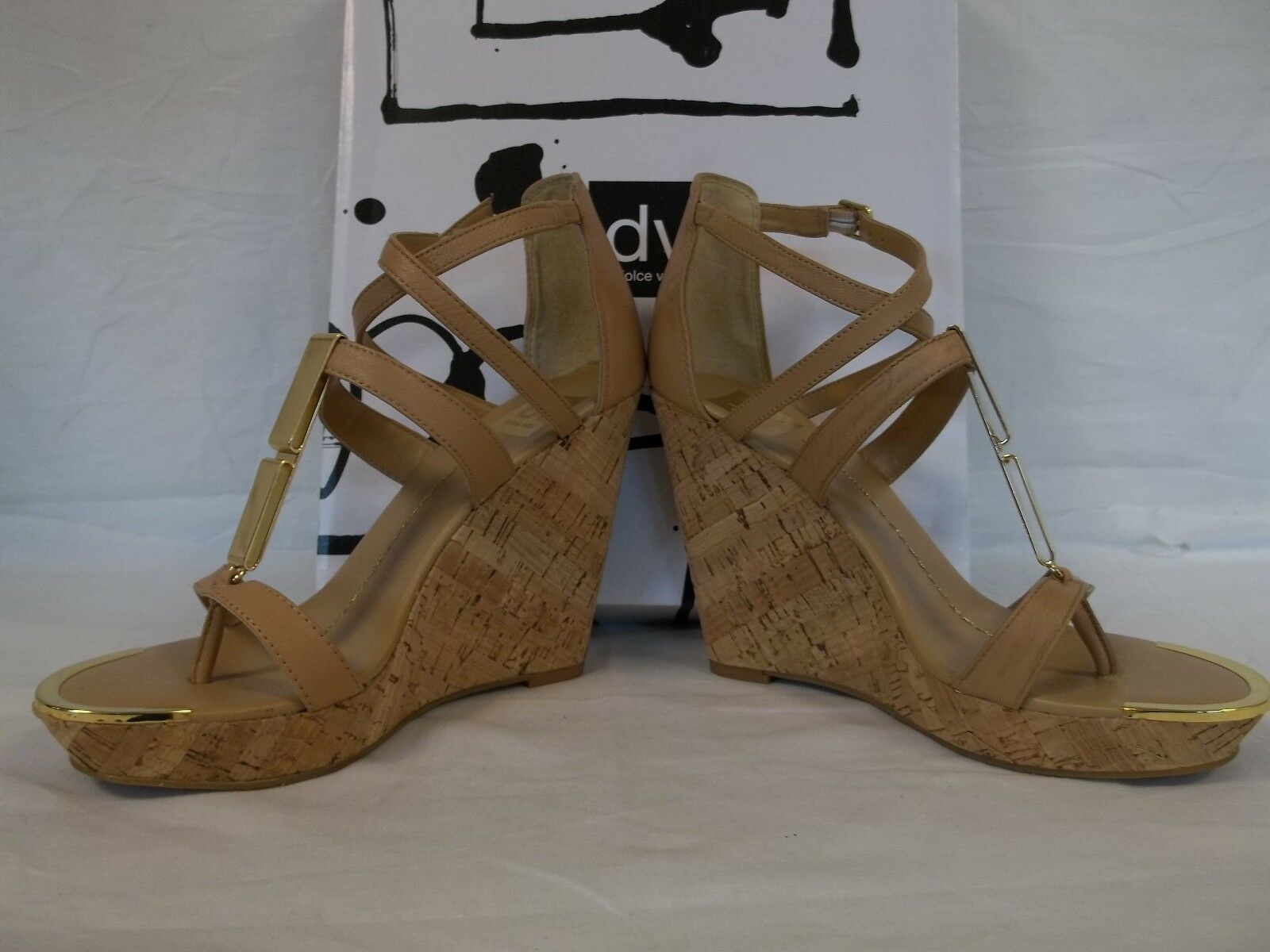 Dolce Vita Size 10 M Tabby Nude Leather Donna Open Toe Wedges New Donna Leather Shoes 8f3237