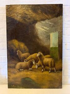 Copieux Antique Huile Sur Toile Signée Peinture De Mouton Dans Un Stylo / Grange