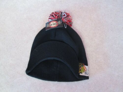 Adult Hockey Chicago Blackhawks Bill Pom Black Old Time Sports Beanie New NWT
