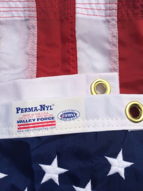 "2x3 FT VALLEY FORGE PERMA NYLON  US AMERICAN FLAG ""FULLY SEWN"" MADE IN USA"