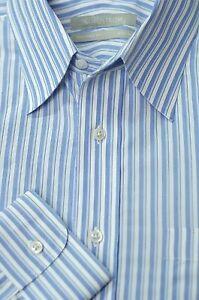 Nordstrom-Men-039-s-White-Purple-amp-Aqua-Stripe-Cotton-Dress-Shirt-15-5-x-34