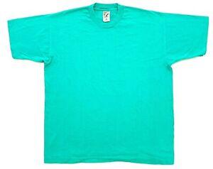 Vintage Fruit Of The Loom Blank Tee Aqua Green Size XL Single Stitch T-Shirt