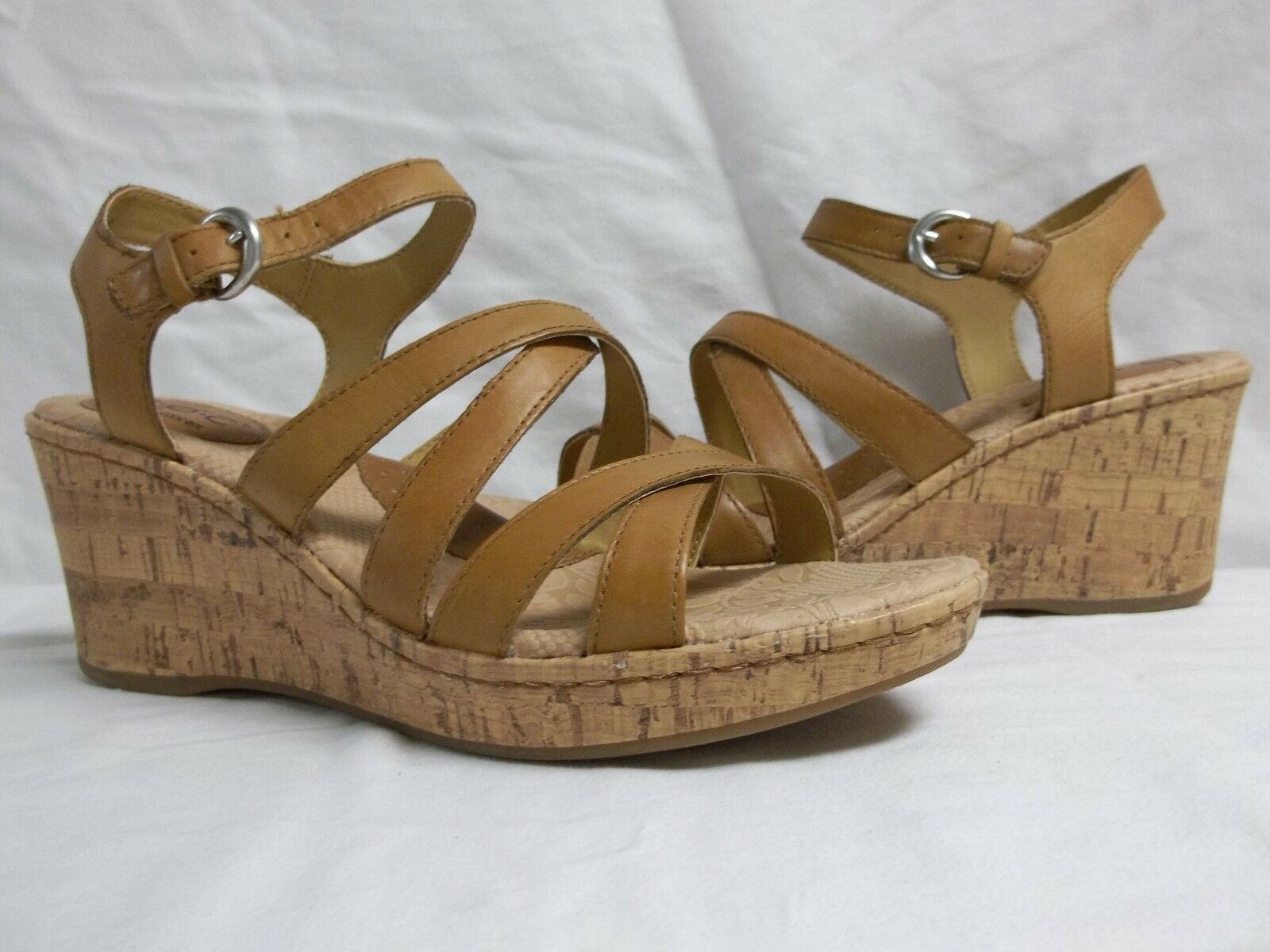 Born Size 10 M Edya Tan Leather Open Toe Wedges New Womens Shoes NWOB