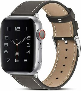 Apple Watch Band Genuine Leather (Ebony/Silver, 44mm/42mm) USA SELLER