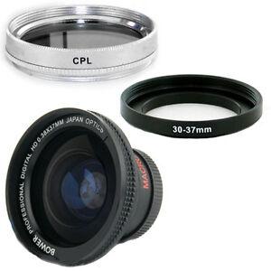 Bower 30mm 0.38x Wide Fisheye Lens,CPL Filter for Sony Handycam XR100,XR150 NEW