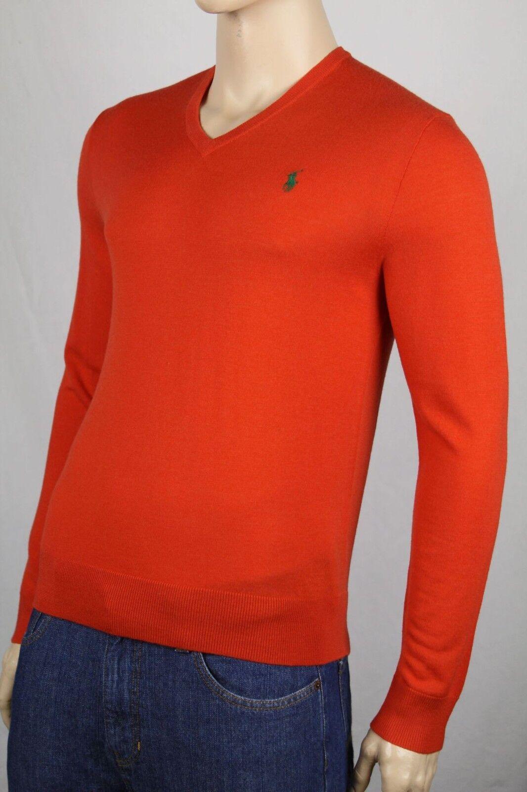 Polo Ralph Lauren Small S Orange Wool Sweater Grün Pony NWT