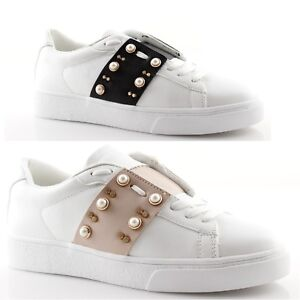 Details about Sneakers Woman White with Black Band or Pink and Studs Gold & Gold Summer show original title