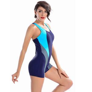 f64d1996f3ace Details about Womens One Piece Swimsuit Boyleg Swimwear Sports Short  Swimming Costume Blue