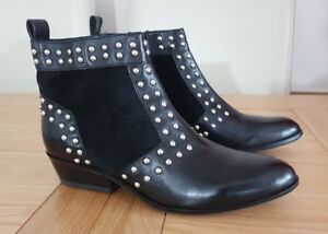 Details about Geox Respira Amphibiox Womens Kennity A Black Leather Suede Studded Boots