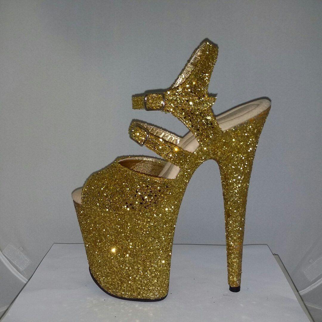 omaggi allo stadio Pole dancing scarpe oro glitter high platform platform platform stripper heels 8 inch dragqueen  nessun minimo