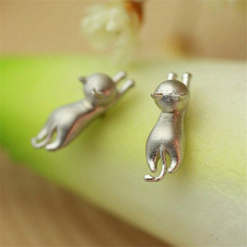 Charm Delicate Tiny Cute Cats Earrings Chic Silver Plated Kitty Stud Earricda