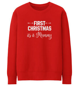 Pregnancy Christmas Sweater.Details About First Christmas As A Mummy Cute Sweatshirt Baby Shower Mum Pregnant Xmas Jumper