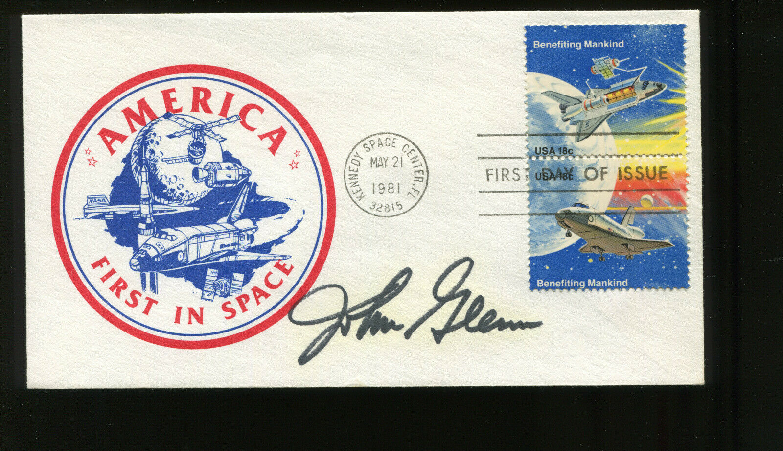 s l1600 - Astronaut JOHN GLENN Signed on may 21 1981 Space Achievement Issue FDC