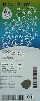 Olympic Memorabilia Systematic Ticket A 17/8/2016 Olympic Games Rio Athletics # O11 Drip-Dry