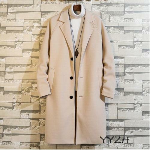 Men/'s Mid-Length Long Sleeve Coat Wool Blend Lapel Outwear Over Knee Loose Tops