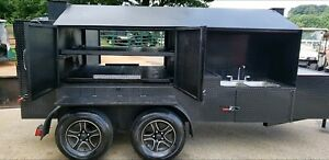 Smoke-Train-BBQ-Smoker-Grill-Trailer-Roof-Sink-Food-Truck-Business-Catering