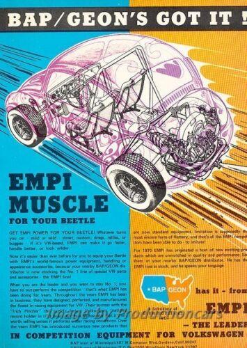 1970 1971 EMPI VW Volkswagen Beetle Original Advertisement Print Art Car Ad J807
