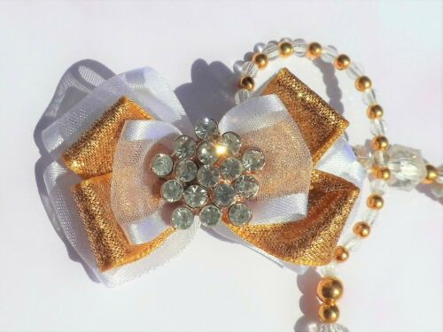 Clear Gold Diamante Luxe Bow Crystal Bling Baby Romany dummy clip chain