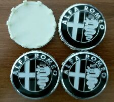 Set of 4pcs Alfa Romeo 60mm BLACK HUB CAPS emblem logo 159, Mito, Giulietta, 166