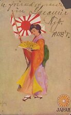 National Art Co Signed Japan Flag with Woman in Costume Vintage Postcard 126