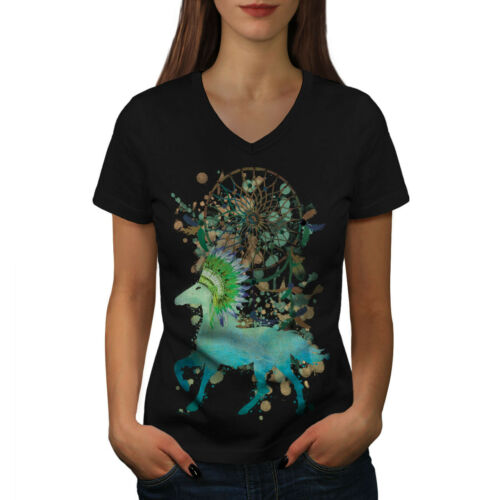 Indian Graphic Design Tee Wellcoda Native American Horse Womens V-Neck T-shirt