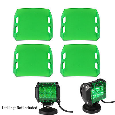 4pcs Green Lens Cover for LED Work Light Bar Lamp Off-Road SUV Car 4X4WD 4'' 18W