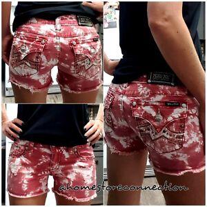 Shorts ~ Stretch à 28 Dye Me de Tie rabat Agrémentée poches Red taille Bling Boucle Miss vXqAnO