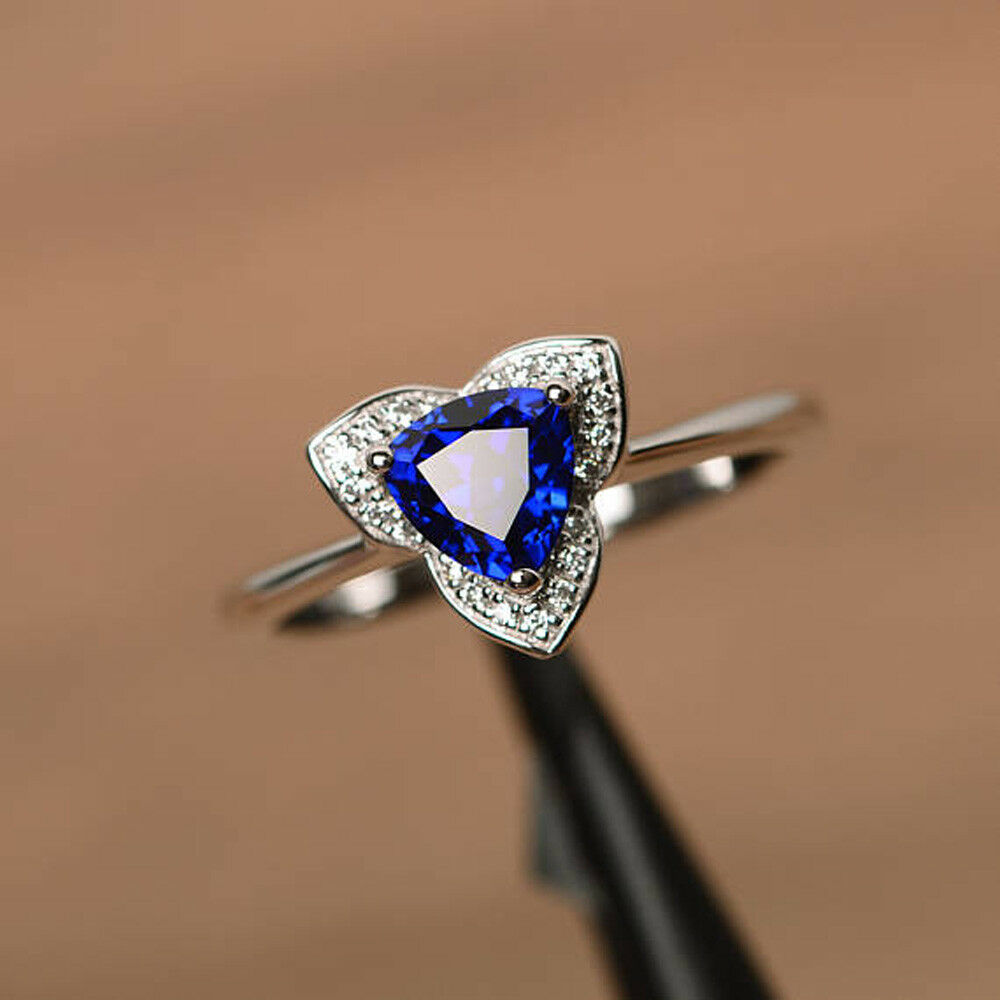 1.31 CT bluee Sapphire Gemstone Diamond Rings Solid 14kt White gold Ring Size 7 5