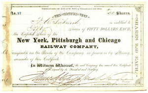 New York, Pittsburgh and Chicago Railway Company. Stock Certificate