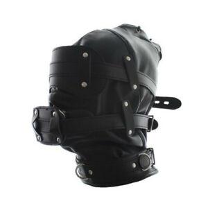 NEW Black Faux Leather Bondage Hood Mouth Gag Blindfold BDSM Full ...