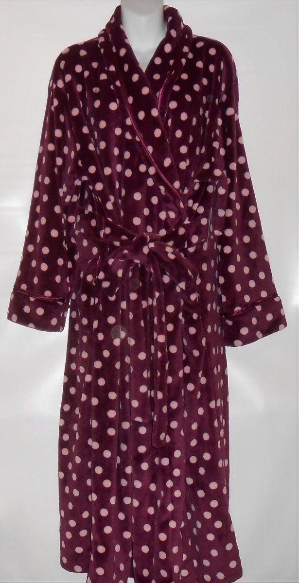 Covington Long Fleece Wrap Robe & Slippers Maroon Polka Dot XL NWT