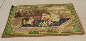 "Antique 19thC Alexander Smith Axminster Cats Kittens Rug W & J Sloane NY 36x57"""