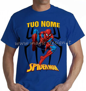 T-SHIRT-SPIDERMAN-RAGNATELA-BAMBINO-uomo-TSHIRT-MAGLIA-MAGLIETTA-supereroe