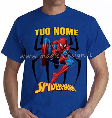 T SHIRT M//L SPIDERMAN MARVEL RAGNATELA BAMBINO BLUE ROYAL TSHIRT MAGLIETTA NUOVO