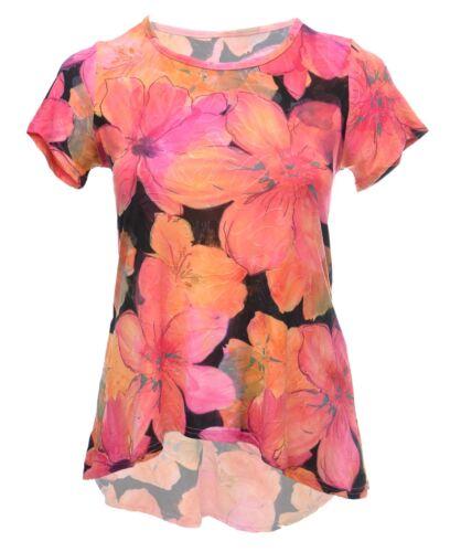 Ladies Size 12-22 New Back Dipped Hem Print T shirt Top Coral Pink Black Mix