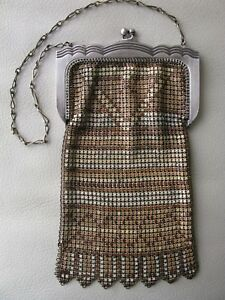 Antique Art Deco Silver Frame Brown Tan Cream Enamel Chain Mail Purse W&d Art Deco Vintage Accessories