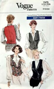 Vogue-Patterns-7573-Easy-Vest-Waistcoat-Women-039-s-button-partially-lined-size-8-12