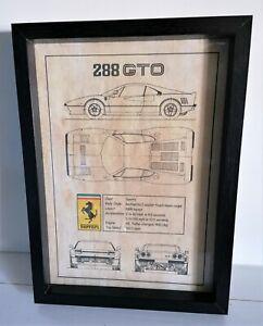 Cadre décoration vintage dépôt de brevet INVENTION FERRARI 288 GTO