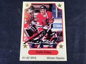 I4-96-HOCKEY-CARD-COLIN-FOLEY-WINTER-HAWKS-AUTOGRAPHED-1991-7th-INNING-SKETCH