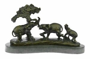 Gorgeous-Bronze-Elephant-Figurine-Sculpture-Statue-Art-African-Signed-Barye