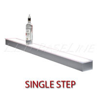 16 1 Tier Led Lighted Liquor Display Shelf - Stainless Steel Finish