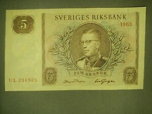 Sweden 5 Kronor, 1963 P 12 Uncirculated! Crisp! Gradable!