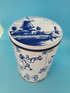 "Dutch Blue and White Empty Tin Windmill 6""x4.5"""