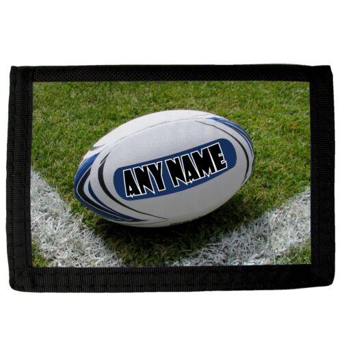 Personalizzata Rugby Palla STAMPA LINEA RAGAZZO BAMBINO TESSUTO WALLET REGALO DI COMPLEANNO