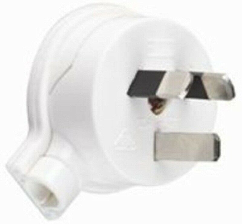 2x HPM PLUG TOPS 10mm Side Entry, 3 Flat Pin, 45° Cord Entry WHITE- 10A Or 20A