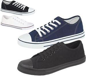 Mens-Canvas-Shoes-Plimsole-Trainer-Pumps-Lace-Up-Flat-Shoes