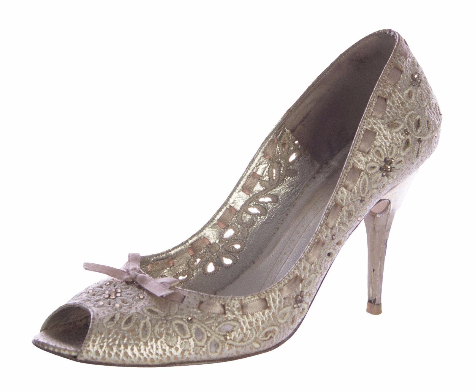 POLETTO Women's Gold / Nude Laced Beaded High Heel Classic Pumps EU Size 37 5