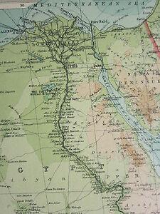 1921 LARGE MAP ~ EGYPT & THE NILE ~ UGANDA ABYSSINIA SINAI PENINSULA ...