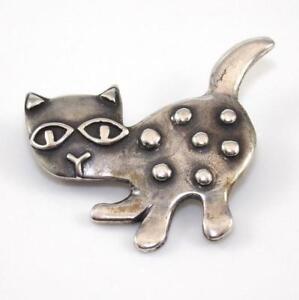 Rare-Retired-James-Avery-Sterling-Silver-Cat-Kitten-Pin-Brooch