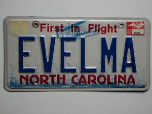 2006 NORTH CAROLINA VANITY License Plate EVELMA NC | eBay